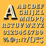Yellow and white font on black background. The alphabet contains letters. Vector Stock Image