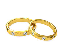 Yellow and white gold exclusive wedding rings. On white background. High resolution 3D image Stock Image