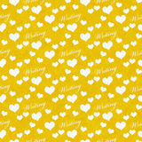 Yellow and White I Love Writing Tile Pattern Repeat Background Royalty Free Stock Photo
