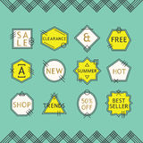 Yellow and white line sale emblems set on blue background Stock Photo
