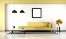 Yellow and white living room Stock Photo