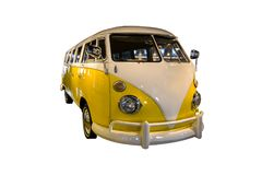 Yellow white microbus. Yellow white retro microbus isolated on white background stock photography