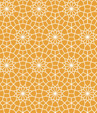 Yellow and white moroccan lattice tile geometric star seamless pattern, vector. Background Royalty Free Stock Photos