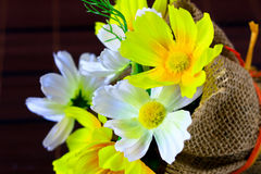 Yellow and white paper flower Stock Photo