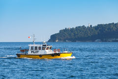 Yellow and white pilot boat enters the port Stock Photos