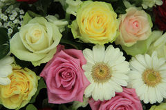 Yellow, white and pink wedding flowers Royalty Free Stock Image