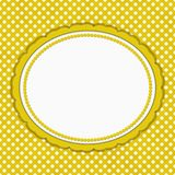 Yellow and white polka dot oval border with copy space Royalty Free Stock Photography