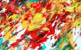 Yellow blue orange red phosphorescent vivid spot paint background, watercolor acrylic painting abstract background. Yellow white red phosphorescent hues, vivid stock image