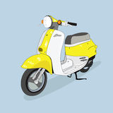 Yellow-white retro scooter  drawn in perspective, isolated from the background.  Stock Images