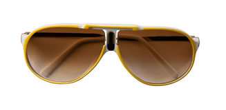Yellow and white rimmed sportive sunglasses. Isolated on white background. Clipping path included Royalty Free Stock Image