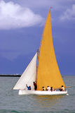 Yellow and white sailed pirogue stock images