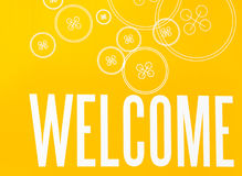 Yellow and White Sign with Word WELCOME and  Button Design Royalty Free Stock Photography