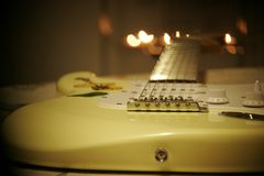 Yellow and White Stratocaster Electric Guitar Stock Photos