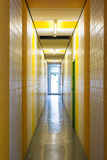 Yellow White Stripes Hallway Narrow Architecture Painted Exit Gl Stock Image