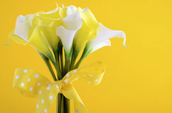 Yellow and white theme calla lilly wedding bouquet Stock Photos