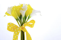 Yellow and white theme calla lilly wedding bouquet Royalty Free Stock Photo