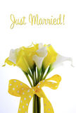 Yellow and white theme calla lilly wedding bouquet Royalty Free Stock Images