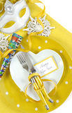 Yellow and white theme Happy New Year table setting stock photo
