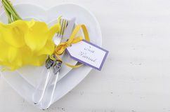 Yellow and white theme wedding table place setting. Stock Photography