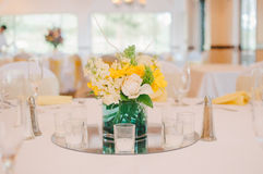 Yellow & White Wedding Centerpiece Stock Photos