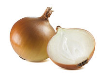 Yellow whole onion half together isolated on white background. Yellow common whole onion bulb half together isolated on white background as package design stock images