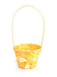 Yellow wicker basket with bow isolated on white Stock Images