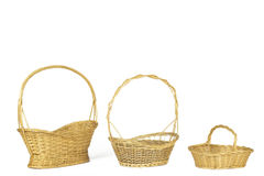 Yellow wicker baskets isolated on white Stock Photo