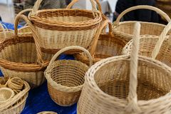 Yellow wicker baskets Royalty Free Stock Photo