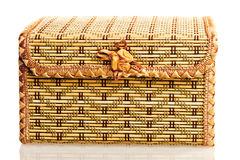 Yellow wicker box for needlework Royalty Free Stock Photography