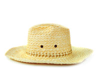 Yellow wicker straw hat Royalty Free Stock Photography