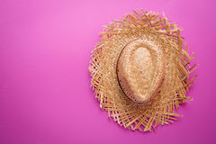 Yellow wicker straw hat Stock Image