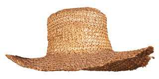 Yellow wicker straw hat isolated Stock Photos