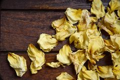 Yellow wilted rose petals. Yellow dried rose petals on wooden boards brown color Stock Photos