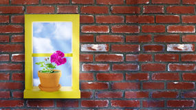 Yellow Window Brick Wall Stock Photo