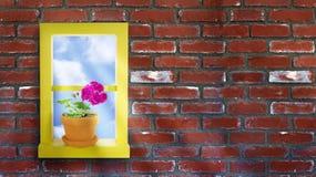 Yellow Window Brick Wall Stock Photo