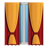 Yellow window curtains icon, cartoon style royalty free illustration