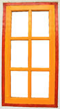 Yellow windows. One wooden windows (with clipping path) (for extralarge size Royalty Free Stock Photo