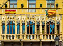 Yellow windows on Town Hall Square in Valencia, Spain stock photography