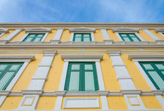 Yellow windows wall for background Stock Images