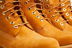 Yellow winter boots. Closeup view Royalty Free Stock Photos