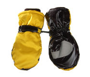 Yellow winter mittens Royalty Free Stock Images
