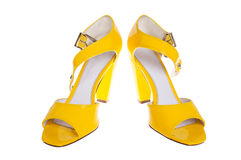 Yellow woman shoes Stock Photography