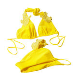 Yellow woman swimming suit Royalty Free Stock Photos