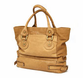 Yellow women leather bag Stock Photos