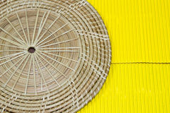 Yellow on wood background. Yellow paper on wood background Royalty Free Stock Photography