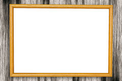 Yellow wood frame. On wood background Royalty Free Stock Images