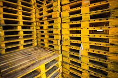 Yellow wood pallets background. Royalty Free Stock Photography