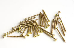 Yellow Wood screws Stock Photos