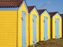 Yellow Wooden Beach Huts Stock Image