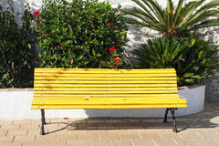 Yellow wooden bench Royalty Free Stock Image